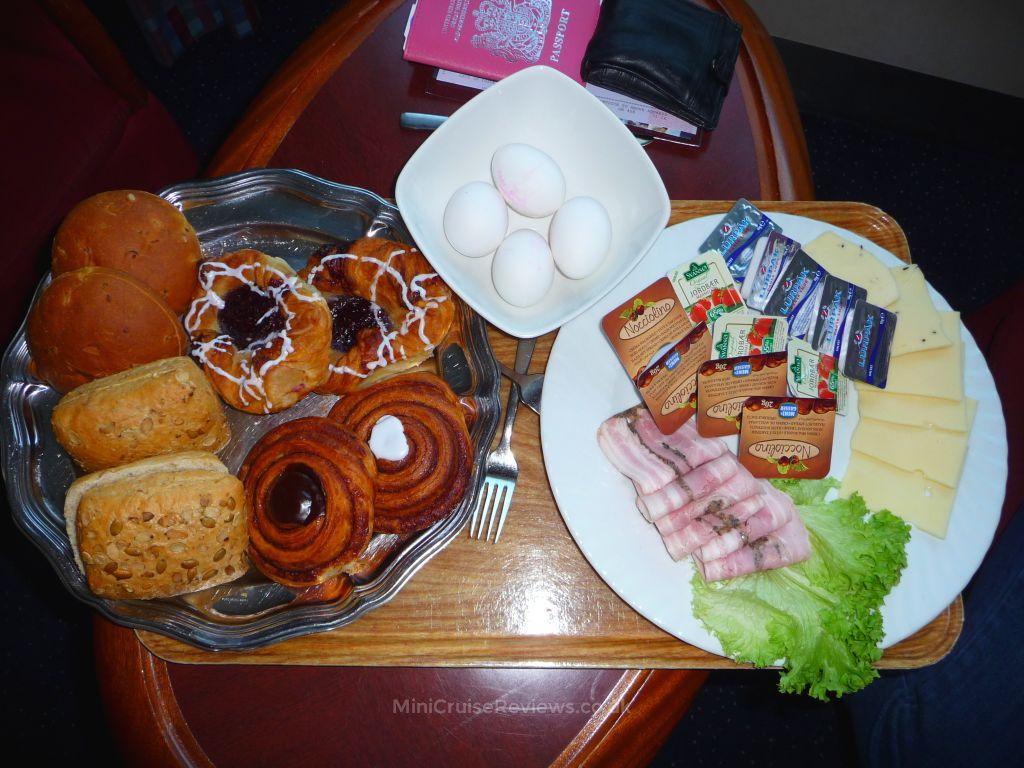 A large breakfast tray