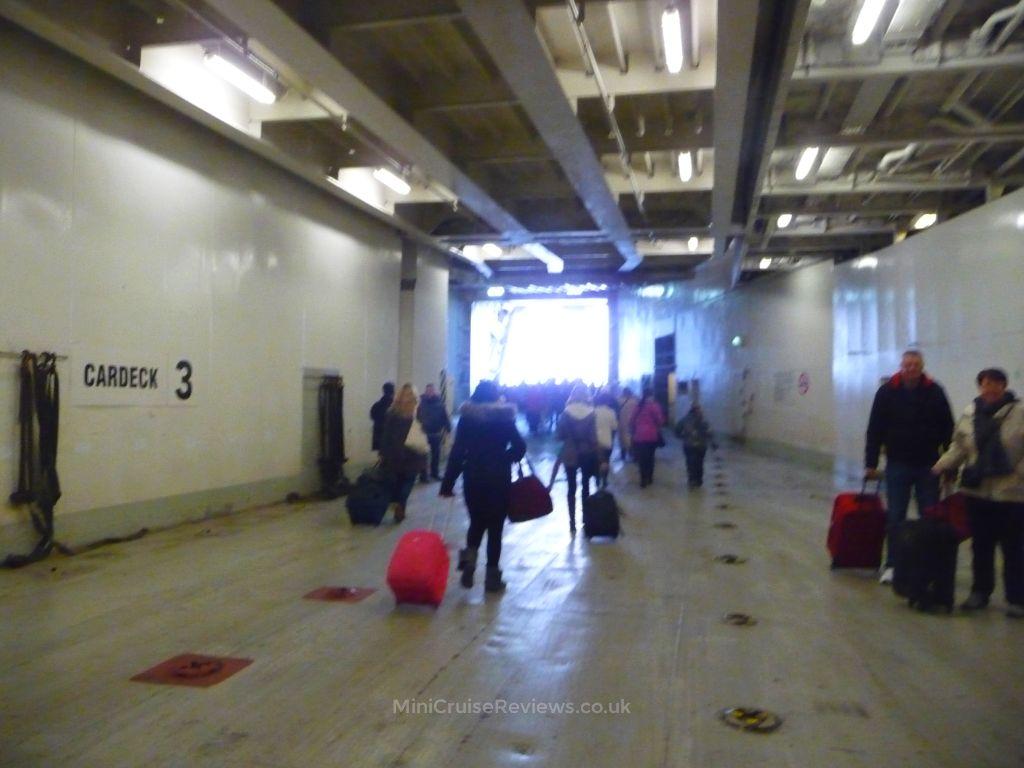 Disembarking through the car deck