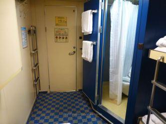 The cabin door and en-suite shower