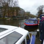 Boarding a canal cruise boat