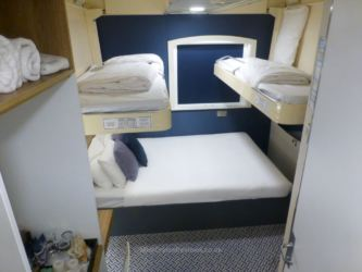 Four bed configuration in the Club Double Bed & 2 Bunk